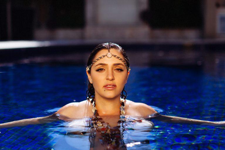 Shelley in a pool