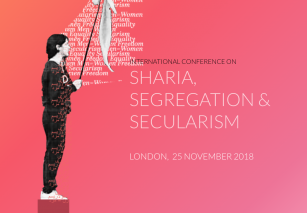 The logo for the London Secular Conference. A woman on a podium holding a white flag next to the words Sharia, Segregation and Secularism