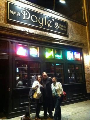 Post show: Sam, Becky and I outside Doyle's on Sunday