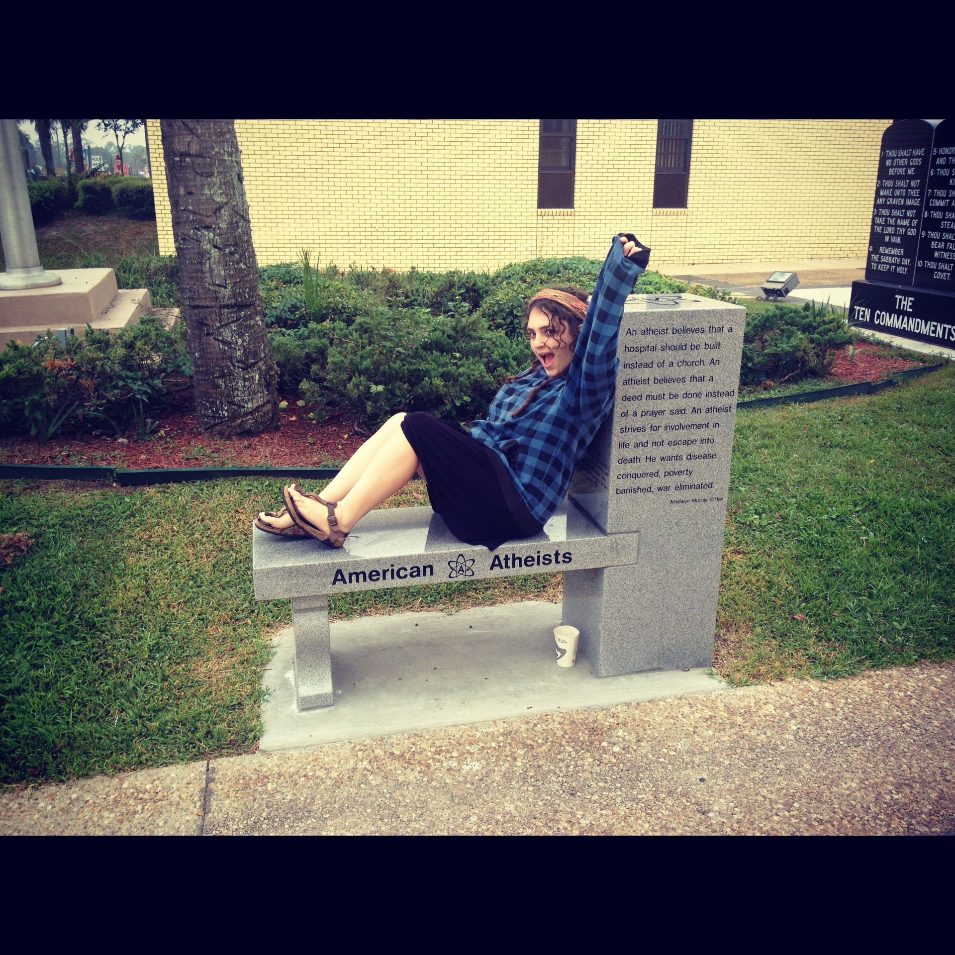 A picture of me looking victorious on the America Atheists Monument